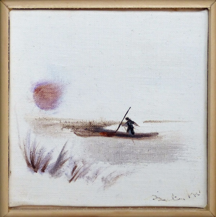 Returning home, miniature oil painting on canvas 11x11 cm framed and ready to hang - Image 0