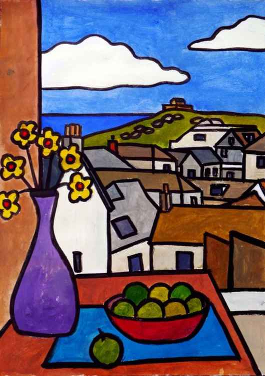 "Interior with rooftop view to ""The Island"", St Ives. -"