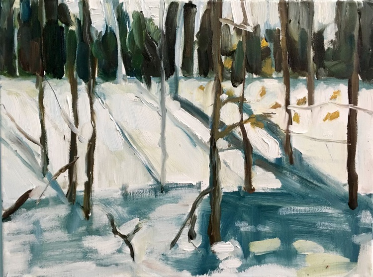Smith Woods Snow Bank #3, smaller oil on canvas - Image 0