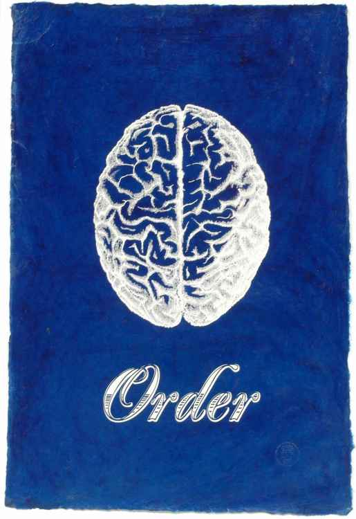 Order on Handmade Lacquered Paper, Medical Antique Heart and Brain Screen Print -
