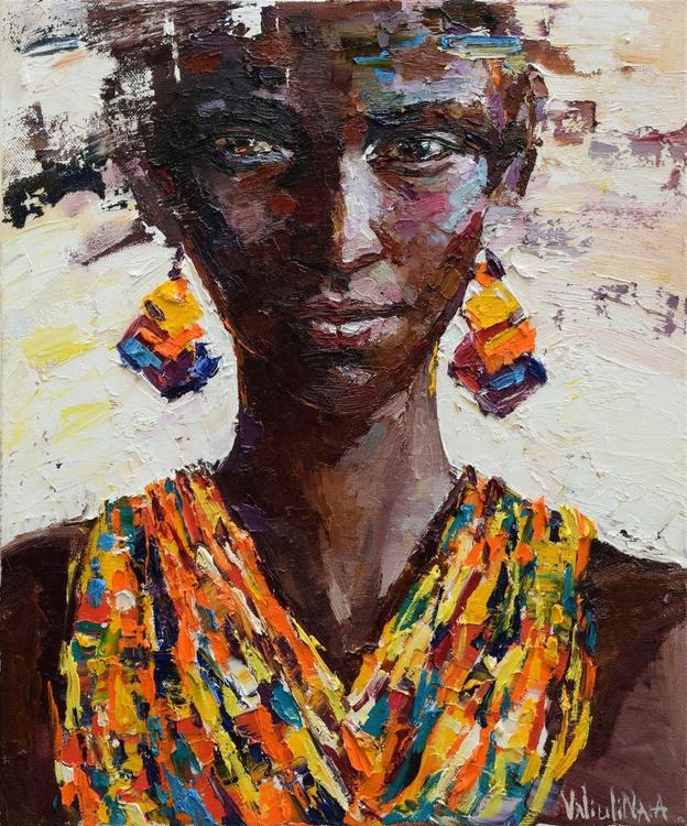 African woman portrait painting, Original oil painting - Image 0