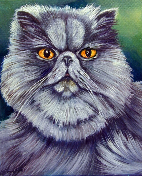 Blue Kitty Cat Portrait 8x10 original Oil Painting Himalayan Cat - Image 0