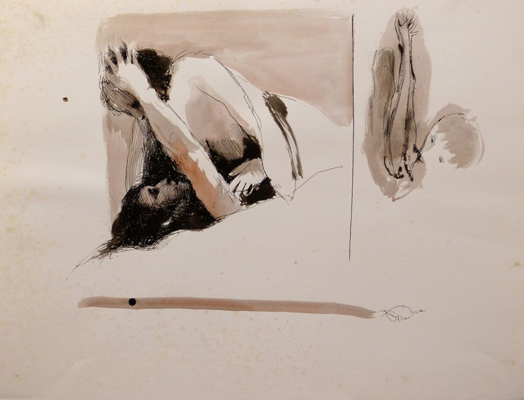 The French Bed, ink on paper 65x50 cm - Image 0