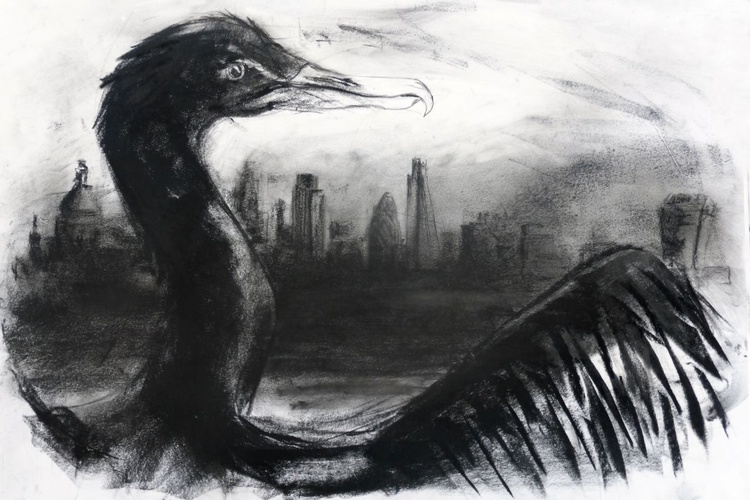 Cormorant, Thames, The City preparatory drawing - Image 0