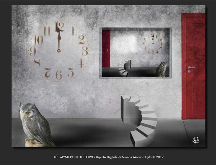THE MYSTERY OF THE OWL | DIGITAL PAINTING PRINTED ON ALU-DIBOND WITH FRAME | UNIQUE ARTWORK | 60 X 44 CM | ART GALLERY QUALITY - Image 0