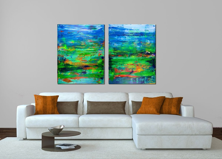 Interrupted Abstract Forrest - diptych - Image 0