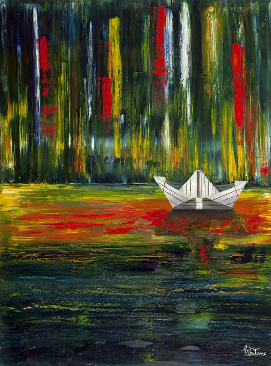 Paper Boat on a Sea of Paint  #3 -