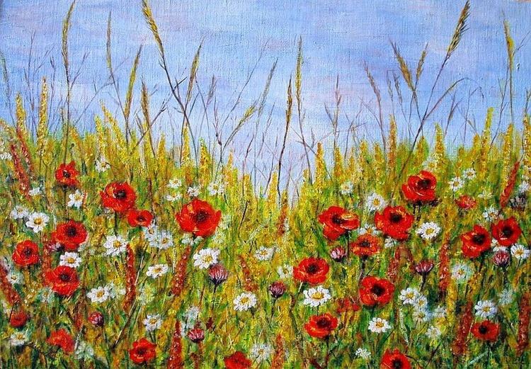 Summer flowers in corn field.. - Image 0