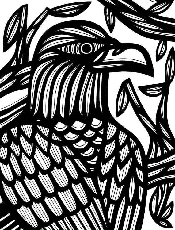 Intense Bird Nature Original Drawing -