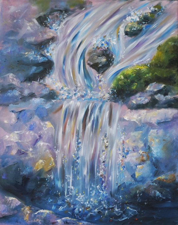 Waterfall, oil on canvas - Image 0