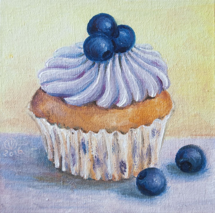 Blueberry Muffin (10x10 cm) original oil painting little still life yummy realistic small gift kitchen decor - Image 0