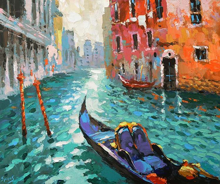 "Turquoise Venice - Original Oil acr. palette knife Painting, Size: 60cmx50cm, (24""x 20"") - Image 0"