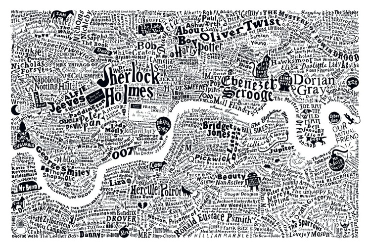 LITERARY LONDON MAP (White) - Image 0