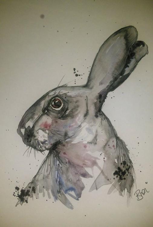 Grey Hare: Doodle illustration - Image 0