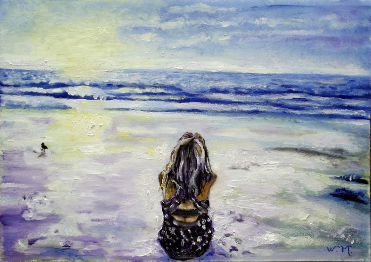 MEDITATION BY THE SEA - Seascape view - 42 x 29.5 cm - Image 0