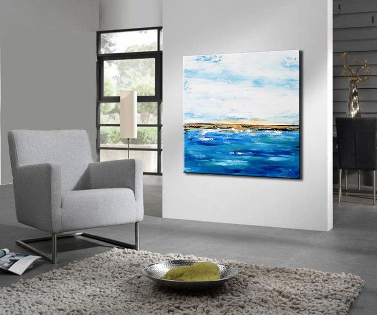 Touching the Sky - Large abstract seascape art, modern blue painting - Image 0