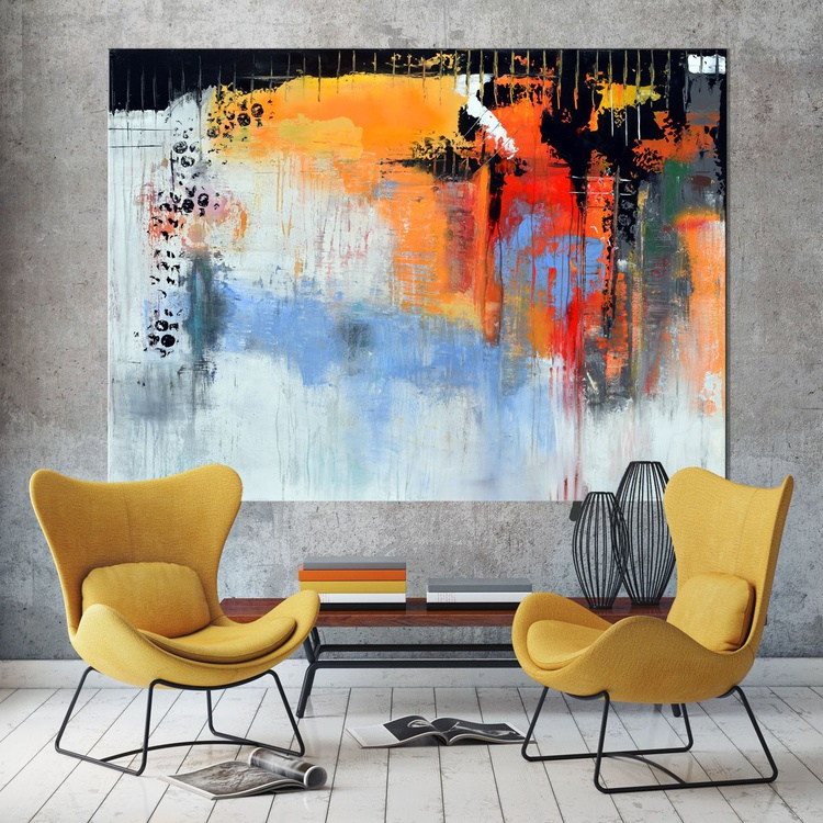 """""""Distressed Path to Somewhere"""" Abstract painting, 50x40 abstract contemporary painting orange yellow grey - Image 0"""