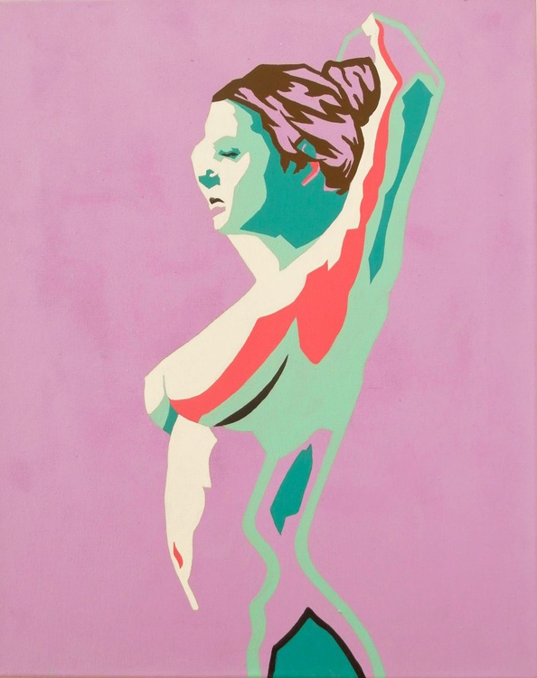 Female Nude In Turquoise And Lilac Original Acrylic Abstract Nude Figure Painting - Image 0