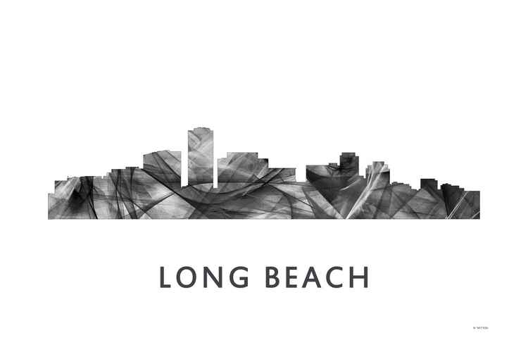 Long Beach California Skyline WB BW
