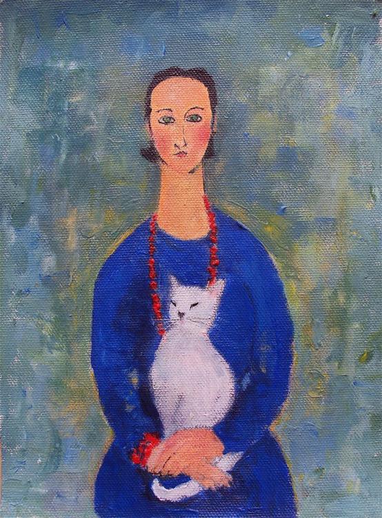 Girl Blue Dress White Cat - Image 0