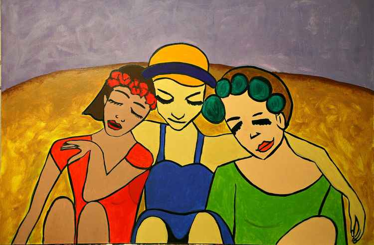 Three girls in the hay