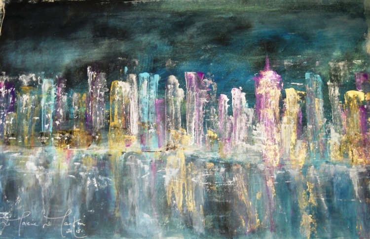 City Lights 3 Cityscape New York Abstract - Image 0
