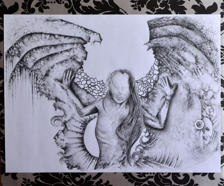 Blind Angel - Large Size Ready To Hang Pencil Art - Image 0