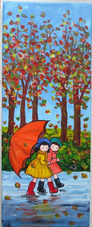AUTUMN ADVENTURE, acrylic on 20x50x1.5cm canvas, ready to hang - Image 0