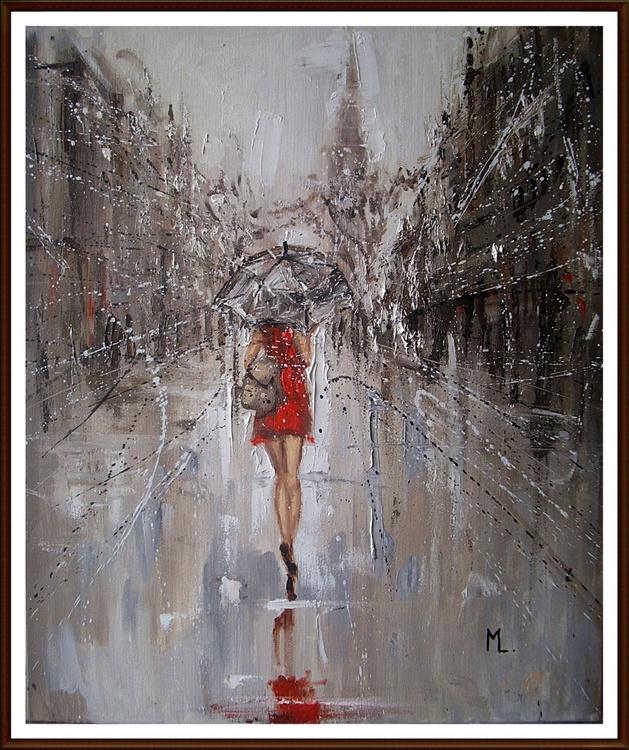 """ MY TRIP TO LONDON  "" original painting CITY palette knife SUMMER umbrella - Image 0"
