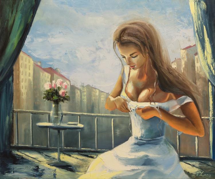 Girl on a balcony - Image 0
