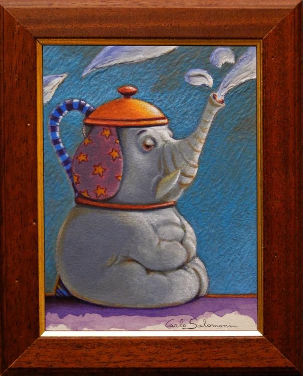 ELEPHANT TEAPOT- (framed) - Image 0
