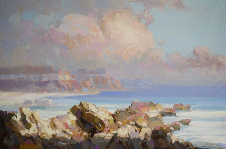 Ocean South Bay Handmade Original oil painting on Canvas One of a kind SignedPainting - Image 0