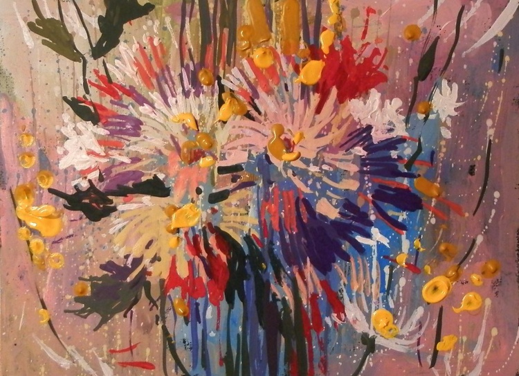 asters. original painting 28x21 cm - Image 0