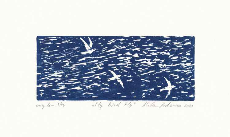 Fly Bird Fly, 2010, linocut -