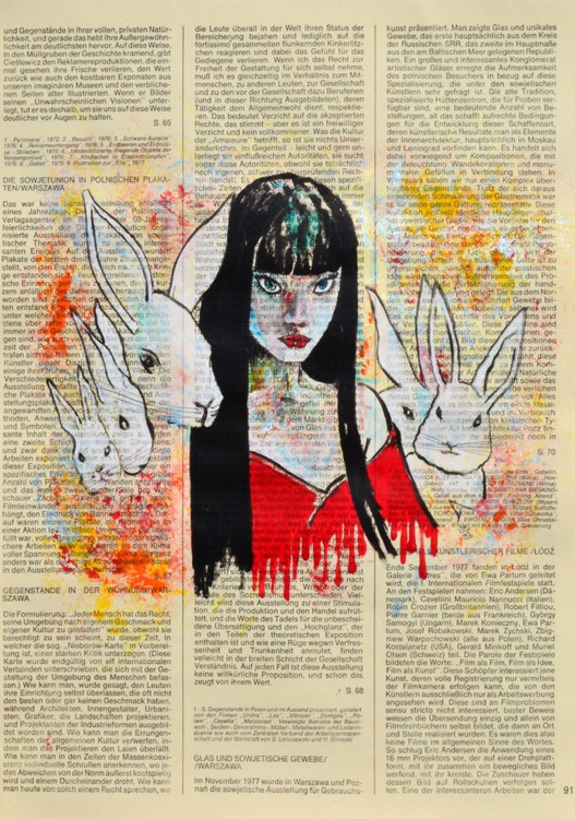 Follow The White Rabbit On Vintage Paper - Image 0