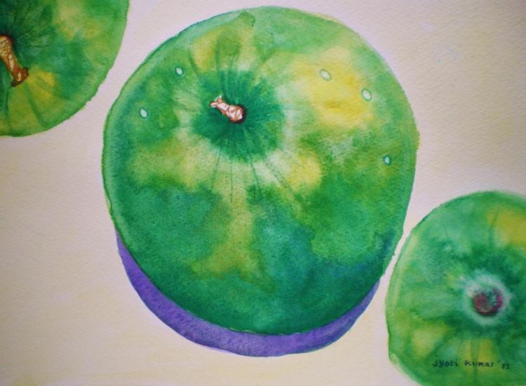 Three green apples - Image 0