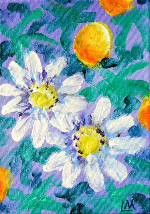 Tropical Flowers - Passion Flower - Finger Painting - Image 0