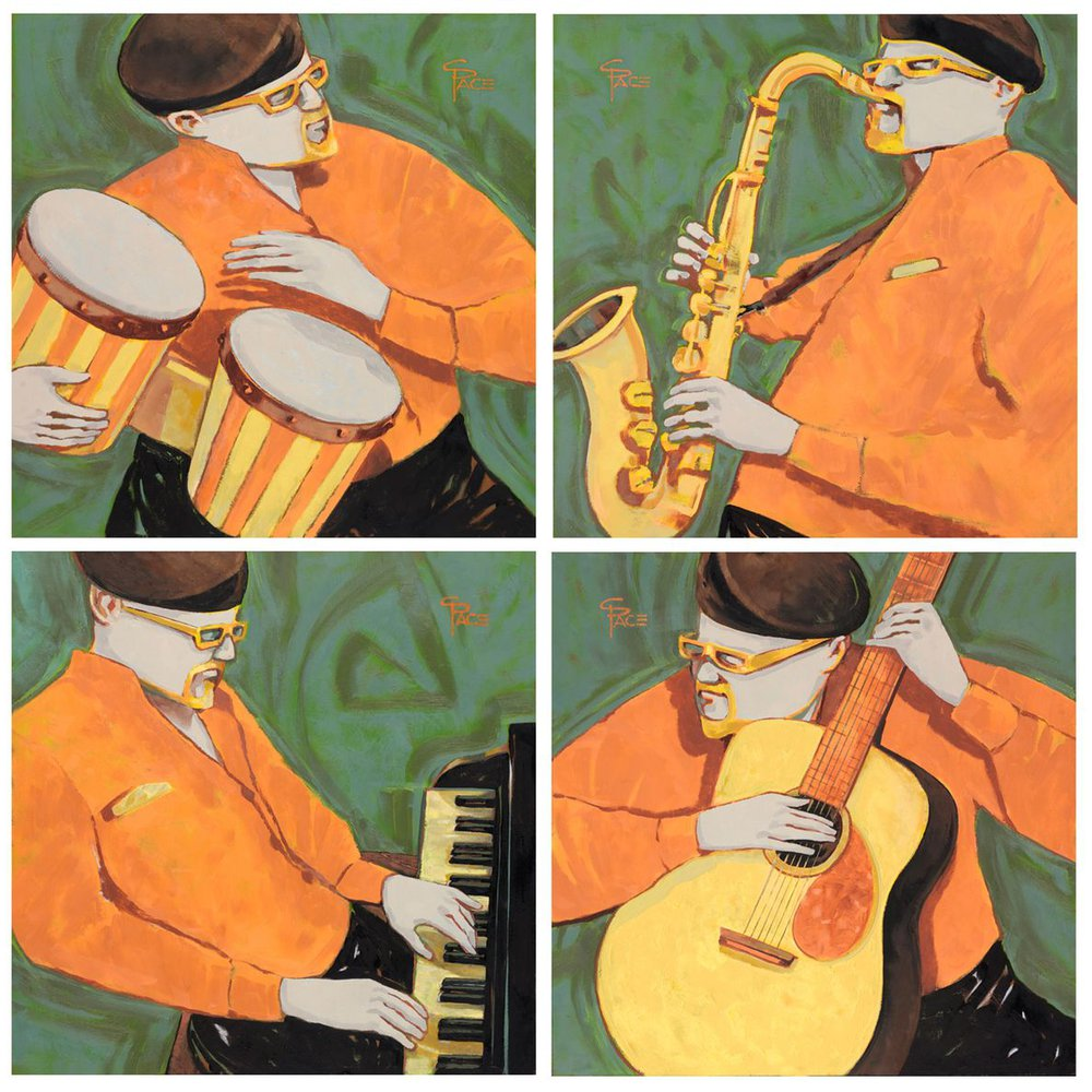 4 Hip Musicians - Quadriptych by Charles Pace