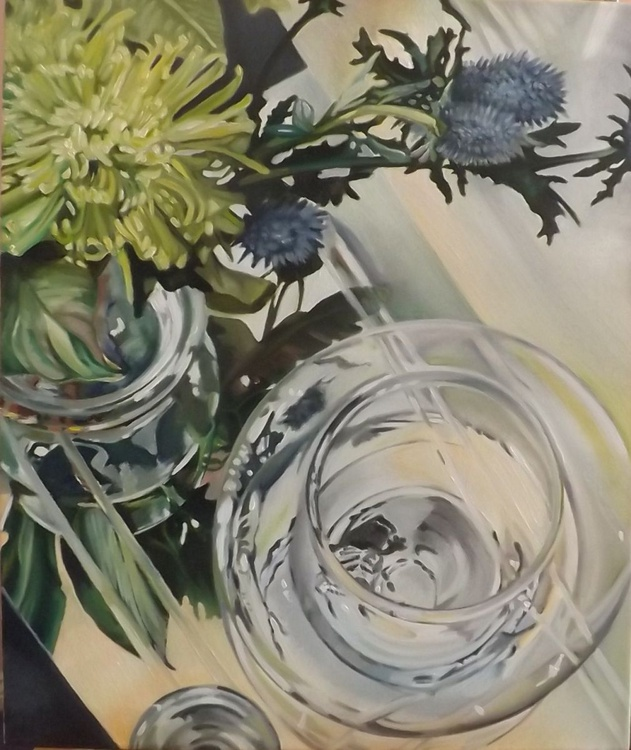 Glass Reflections with thistles 1 - Image 0