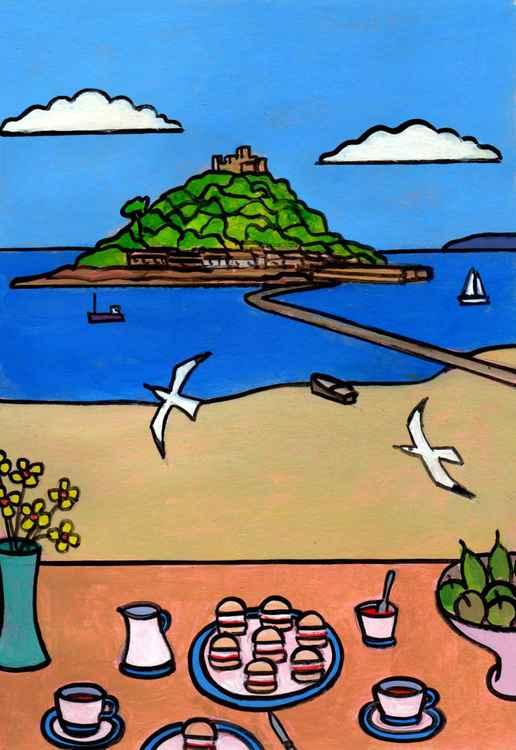 Cornish cream tea overlooking the Mount.