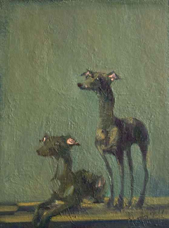 2 Greyhounds / 18 × 24 × 2 cm / READY TO HANG!