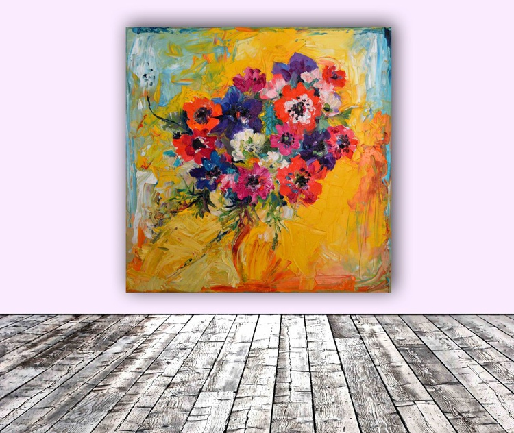Anemones Bouquet Ready to hang, FREE SHIPPING - Flower painting, Floral Painting - Image 0