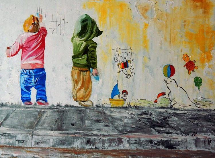 OP-045 Two Naughty Boys painting on street wall - Image 0