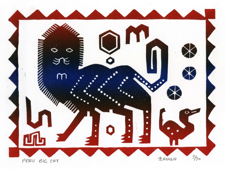 Peru Big Cat Linocut Hand Pulled Original Relief Print Edition of 30 - Image 0