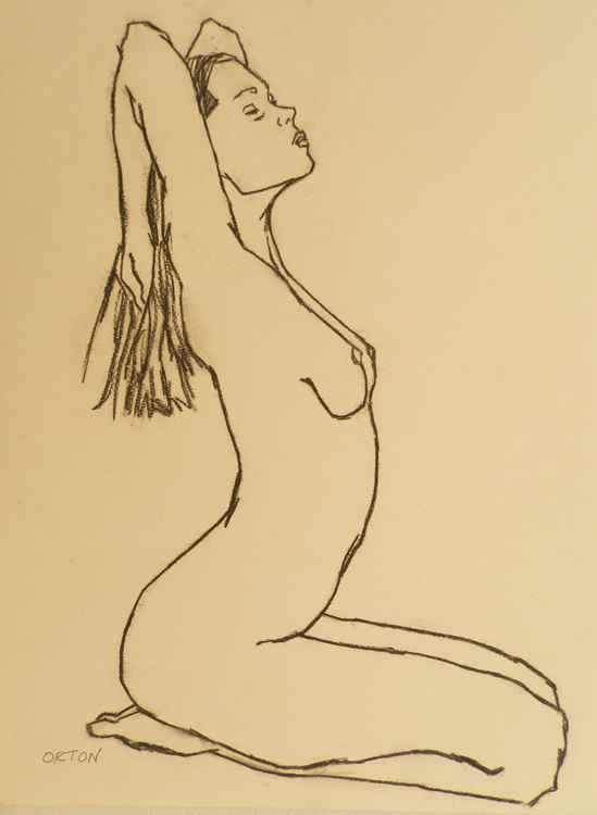 Nude Art Original Figure Drawing Female Nude Charcoal Life Drawing