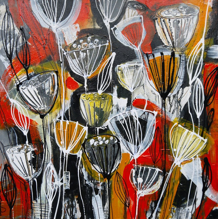 Poppy Flames - 60cm x 60cm, ready to hang - Image 0