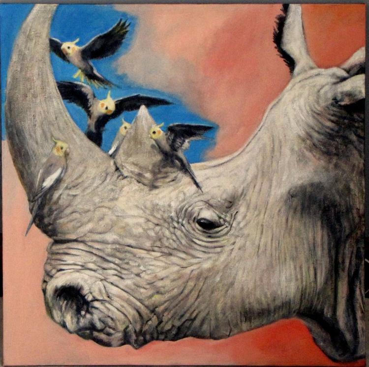 Rhinoceros with cockatiels - Image 0