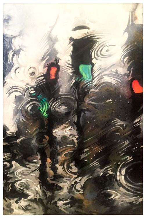 'Puddles' - Original painting on canvas - Image 0