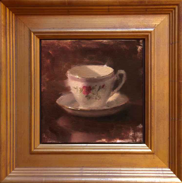 Delicate Lines - Teacup and Saucer Original Oil Painting -