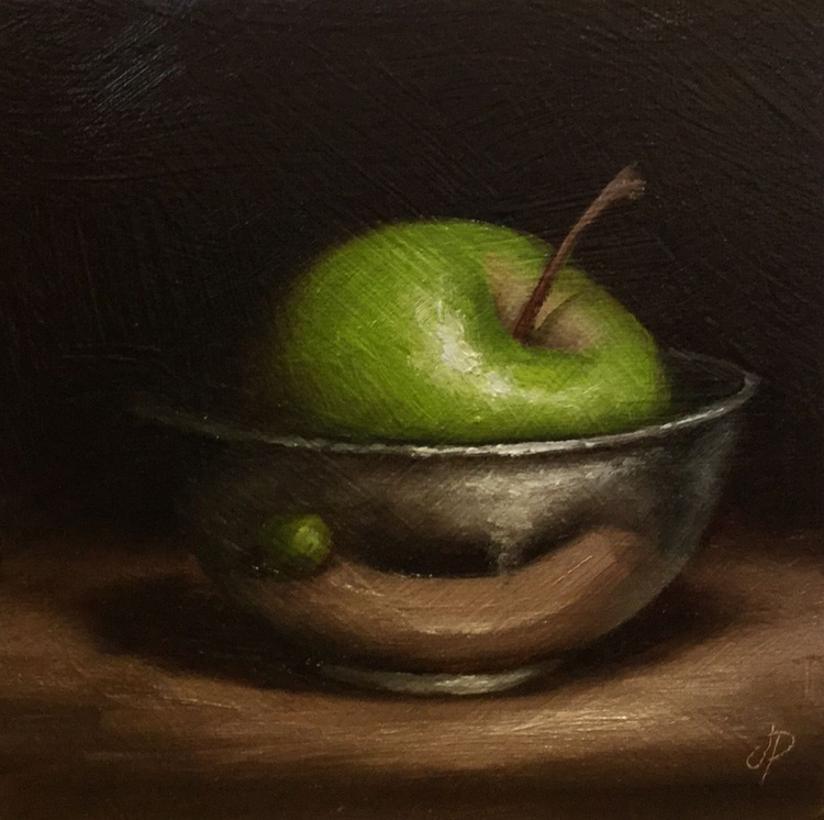 Apple in a Silver Bowl - Image 0
